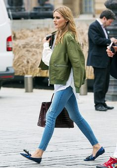 On Olivia Palermo: 3.1 Phillip Lim Ribbed-Trim Satin Bomber Jacket ($850)…