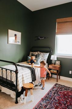 Toddler Room, Iron Bed, Dark Green Walls, Big Boy Room, Boy images ideas from Best Room Ideas
