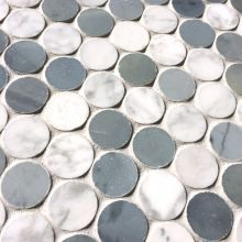 AllMarbleTiles.com - Travertine, Marble, Glass, Tiles, Mosaics, flooring / Bianco Carrara Marble and Blue Stone Mix Penny Round Marble Mosaic $23.95