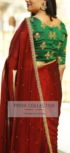 PV 3618  : Maroon and Green. Price        : 4500Rs.  Get that trendy look in this deep combination sari. Maroon crepe silk stone studded sari finished with gold cut work border.Unstitched blouse piece : Bottle green bhutti work blouse piece as displayed in the picture .For Order  24 January 2018