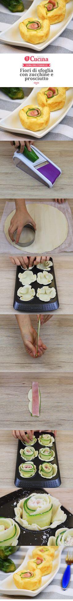 Fiori di sfoglia con zucchine e prosciutto
