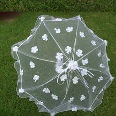 White Tulle Flower Summer Wedding Bridal Sun Parasol Umbrella Women SKU-71104057