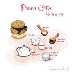 Easy Panna Cotta Recipe / 5 ingredients #illustrations