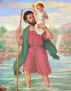 O Glorious St. Christopher, you have inherited a beautiful name, Christbearer, as a result of the wonderful legend that while carrying people across a raging stream you also carried the Child Jesus. Teach us to be true Christbearers to those who do not know Him. Protect all of us that travel both near and far and petition Jesus to be with us always. Amen. (July 25th is the Feast Day of St. Christopher, the Patron Saint of travelers)