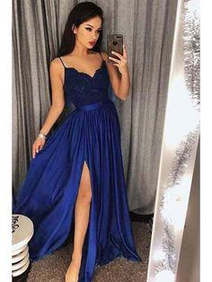 Spaghetti Strap Prom Dresses Long Lace V Neck Maxi High Split Evening Ball  Gowns 2019 d2e10be5a3da