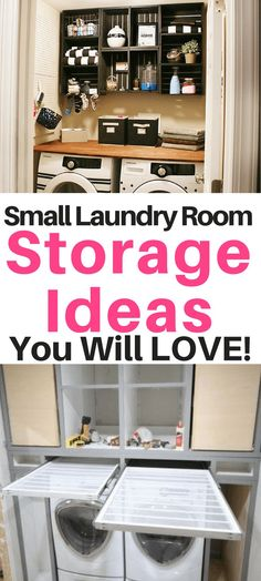 Small laundry room storage ideas - there are so many great ideas here! Small laundry room storage ideas – there are so many great ideas here! I love those laundry room Laundry Storage, Office Storage, Home Office Storage, Diy Storage, Closet Storage, Laundry Room Storage, Laundry Room Drying Rack, Small Storage, Room Storage Diy