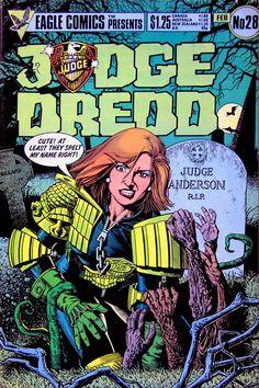 Eagle Comics Presents:JUDGE DREDD #28 - February, 1986. Cover by Brian Bolland.