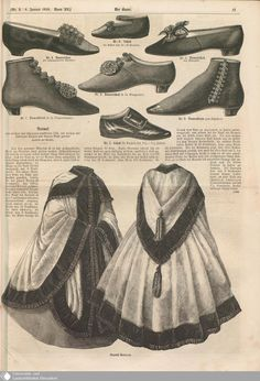 1859 Der Bazar. Shoes and boots. Clockwise from top left, lady's shoe, shoe for a child 10-18 months, lady's shoe in marocain, lady's boot with lacing, shoe for child 1 1/2- 2 1/2, lady's Crakow-style boot. Center, lady's Hungarian-style shoe. [jrb]