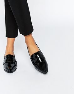 Daisy Street Patent Pointed Toe Loafer Flat Shoes