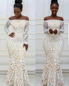 moda africana estilos asoebi magníficos y de moda ~ afrikanische mode wunderschöne und trendige asoebi styles African Bridesmaid Dresses, African Lace Dresses, Latest African Fashion Dresses, African Print Fashion, Lace Material Styles, African Lace Styles, Ankara Styles, Lace Gown Styles, Long Sleeve Evening Gowns