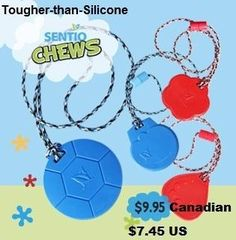 Do you have an aggressive chewer on your hands? ◘Our SentioCHEWS are made with FDA approved material more durable than silicone. Save his hands, knuckles, shirts, toys, etc. with a safe chewy.  Buy easily online: www.kidcompanions.com
