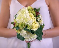 A personal favorite from my Etsy shop https://www.etsy.com/ca/listing/264057863/white-and-green-bridal-bouquet-garden
