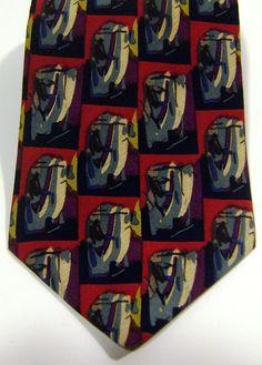 New J. Jerry Garcia Mens Abstract Neck Tie 100% Silk Red Purple Gold Necktie #JGarcia #NeckTie