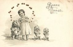 Singing Poodle Dogs With Girl Embossed French Artist Postcard Early 1900 | eBay