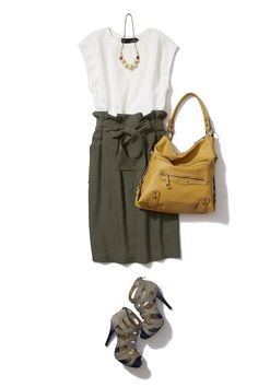 Camo green skirt with off white top
