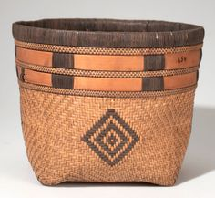 Africa | Basket from the Zappo Zap people of Luebo, Belgian Congo |  Plant fiber | ca. 1910 || These types of baskets usually also come with a lid