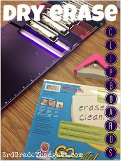 Dry Erase Sheets on the back of plastic clipboards-- a great 2-in-1 idea to save space and money