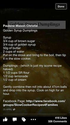 Slow cooker golden syrup dumplings