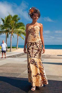 A very beautiful tapa dress with masi print.