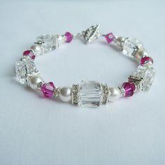 Elegant white Swarovski Pearl Bracelet with Fucshia by fayeslipp