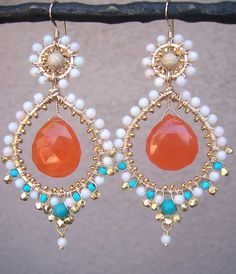 F r i d a   -  wire wrapped - 14k gold filled  - coral - carnelian - turquoise - chandelier earrings