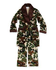 Swankie Blankie Kid's Camo-Print Lounge Pants & Robe Set - I think Max needs these