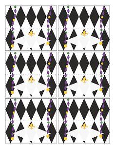 Tricia-Rennea, illustrator: Mardi Gras Party Place Cards