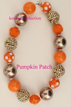 Pumpkin Patch Chunky Beaded Necklace for women, girls, kids