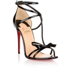 Christian Louboutin Blakissima 100 Black Patent Leather Sandal ($750) ❤ liked on Polyvore featuring shoes, sandals, black, ankle strap sandals, high heel stilettos, black t strap sandals, black patent sandals and high heel sandals