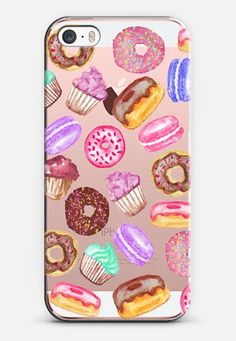 Yummy Watercolor Donuts Cookies Cupcakes and Muffin Dessert - Transparent iPhone SE case by BlackStrawberry | @casetify