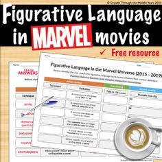 Figurative Language in MARVEL movies - by Growth through the Middle Years Middle School Reading, Middle School English, Middle School Classroom, English Classroom, Art Classroom, High School, Teaching Language Arts, Language Activities, Speech And Language
