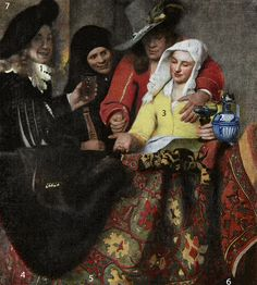 Johannes Vermeer, 'The Procuress' 1656. The painting is dominated by the red color of the man's jacket and the bright yellow of the woman's blouse painted in lead-tin-yellow.