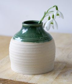 Little bottle shaped bud vase, hand thrown and glazed in forest green, £8.00, by LittleWrenPottery on etsy - beautiful handmade stoneware pottery