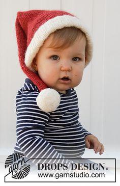 Ravelry: Sleepy Santa Hat pattern by DROPS design Baby Knitting Patterns, Baby Hats Knitting, Easy Knitting, Knitted Hats, Crochet Patterns, Drops Design, Knit Or Crochet, Crochet Hats, Drops Baby