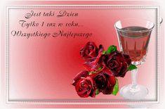 Urodziny i imieniny: Gify urodzinowe Shot Glass, Alcoholic Drinks, Happy Birthday, Tableware, Beautiful, Vintage, Flowers, Happy Brithday, Dinnerware