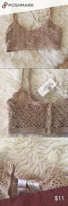 F21/ crochet bralette ⱝ light brown, tan  ⱝ soft, crochet bralette ⱝ forever 21 ⱝ button detail in back ⱝ bohemian vibes ⱝ best fits small, med ⱝ new with tags    » I DO NOT LOWER MY PRICES, SO OFFERS ARE ABSOLUTELY WELCOME  » UNLESS IT IS FOR A BUNDLE, I WILL NOT RESPOND TO OFFERS IN COMMENTS   » I WILL MAKE A NEW LISTING FOR DISCOUNTED SHIPPING Forever 21 Intimates & Sleepwear Bras