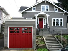 Gray trim, white trim, red door painted house