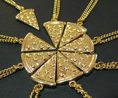 Real friends are like pizza, they come in all toppings and are always welcome. The pizza slice necklace allows you and your closest eight home slices to partake in the sacred bond of friendship by each holding on to their very own golden slice of pie - also available in veggie.