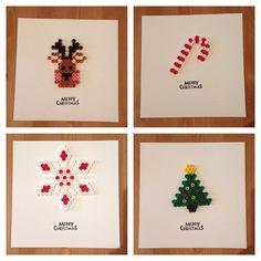 Christmas cards hama beads by beadgeekcreations Hama Beads Design, Diy Perler Beads, Hama Beads Patterns, Beading Patterns, Decoracion Navidad Diy, Diy Christmas Cards, Christmas Ornaments, Christmas Perler Beads, Motifs Perler