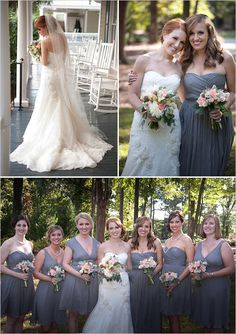 love the gray bridesmaid dresses and pink flowers