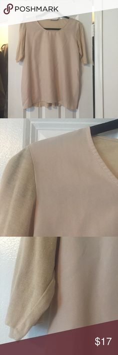 Minimal Nude/Peach silk blend material  mix top Beautiful minimal cut top, front is a smooth washed silk, back and sleeves are a soft paperweight semi sheer tissue knit - good worn shape, some light pilling on the bottom of the back. (See images) ---- european size 36 --- 6 / s cos Tops Tunics