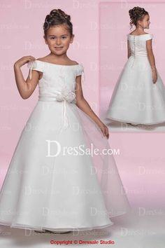 Off-The-Shoulder Neck Ball Gown Flower Girl Dress
