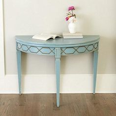 Blue and Brass Demilune Table