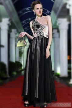 Fabulous A-Line One-Shoulder Floor-Length Beading Evening Dress : Tidebuy.com