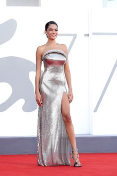 Silver Outfits, Versace Gown, London Film Festival, Red Carpet Gowns, Embellished Gown, Festival Dress, Silver Dress, International Film Festival, Opening Ceremony