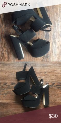 All black Barbie doll thick heels! Really thick material, gives any look a more iconic style. Shoes Platforms
