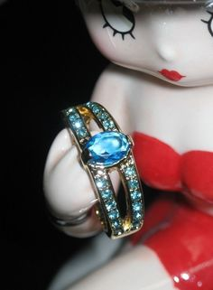 Womens Blue Topaz Fashion Ring Yellow Gold Fill over 925 Silver Size 7 #SolitairewithAccents
