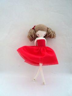 rag doll Marilyn - plush toy cloth art doll red dress tutu ooak