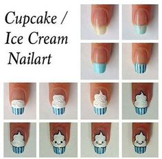 not edible but super cute!  ~~~~ Ice Cream/Cupcake Nail Art Tutorial. Head over to Pampadour.com for more fun and cute nail art designs! Pampadour.com is a community of beauty bloggers, professionals, brands and beauty enthusiasts! #nails #nailpolish #polish #nailart #naildesign #cute #fun #pretty #howto #tutorial #beauty #icecream #cupcake