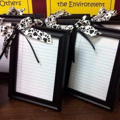 Little framed white boards--clever gift for teacher end of year gift !
